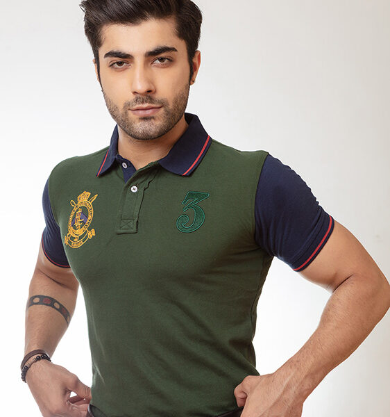 forest green contrast sleeves polo