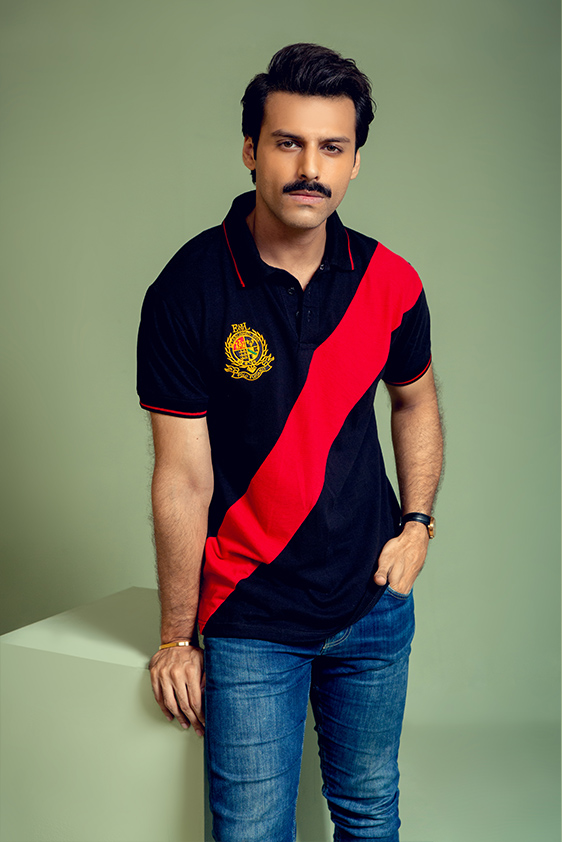 short Sleeve-black-with-red-color-striped-polo-shirt