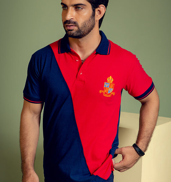 dark blue with red contrast polo shirt