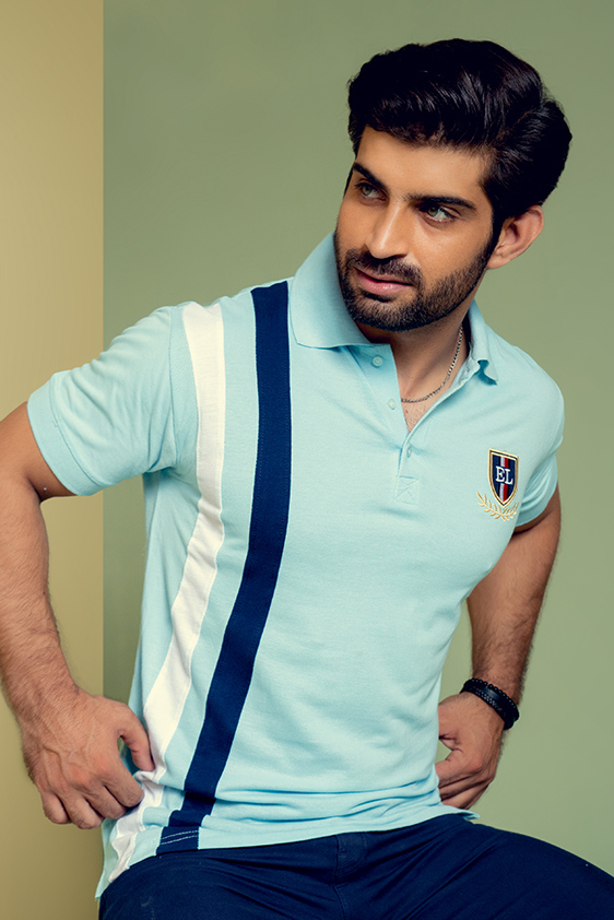 light blue with white color striped polo shirt