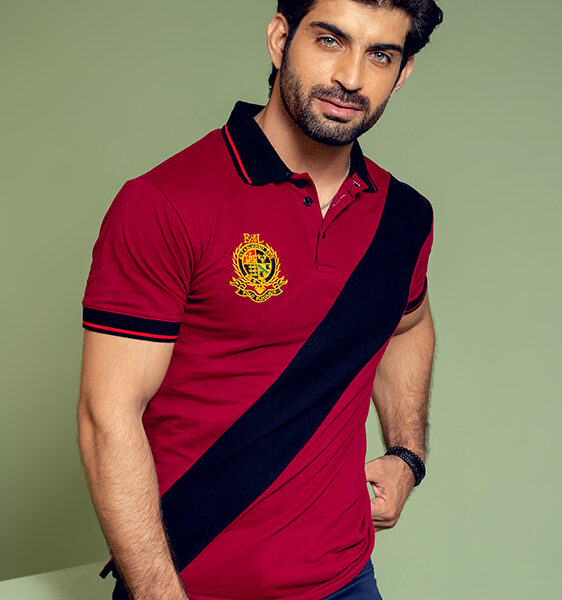 maroon and black color striped polo shirt