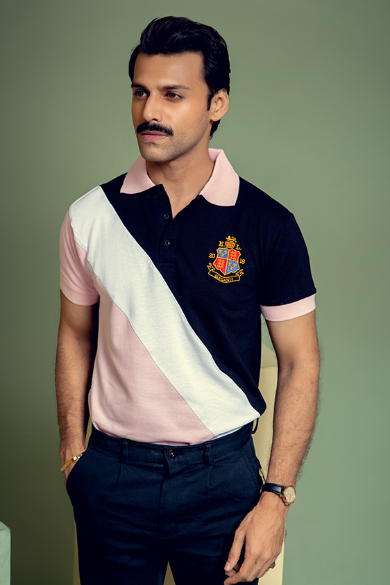pink with white black striped polo shirt