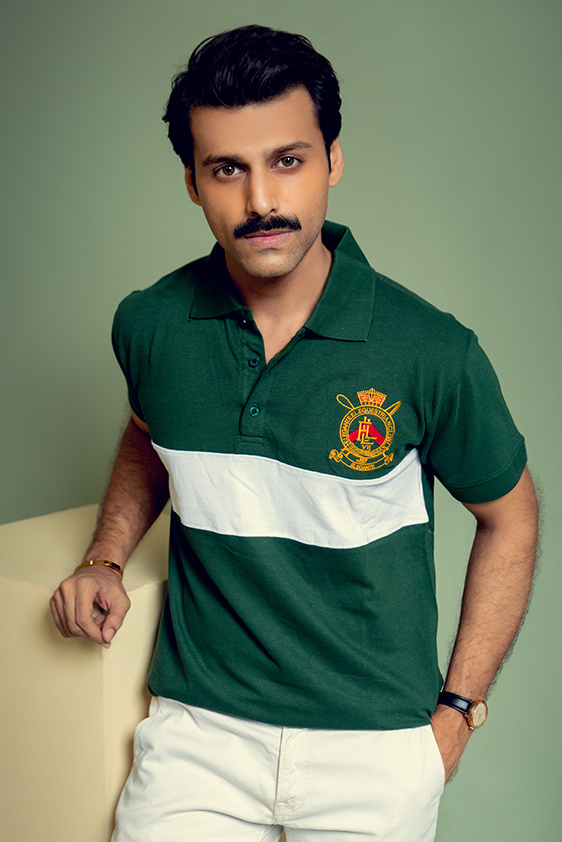 slim fit green with white color striped polo